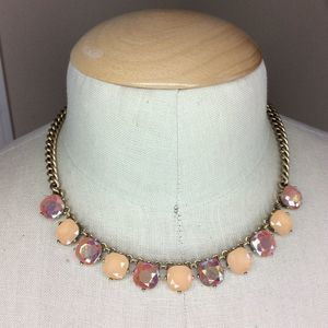 J.Crew Gold Tone Necklace Chain Pink Peach Stones
